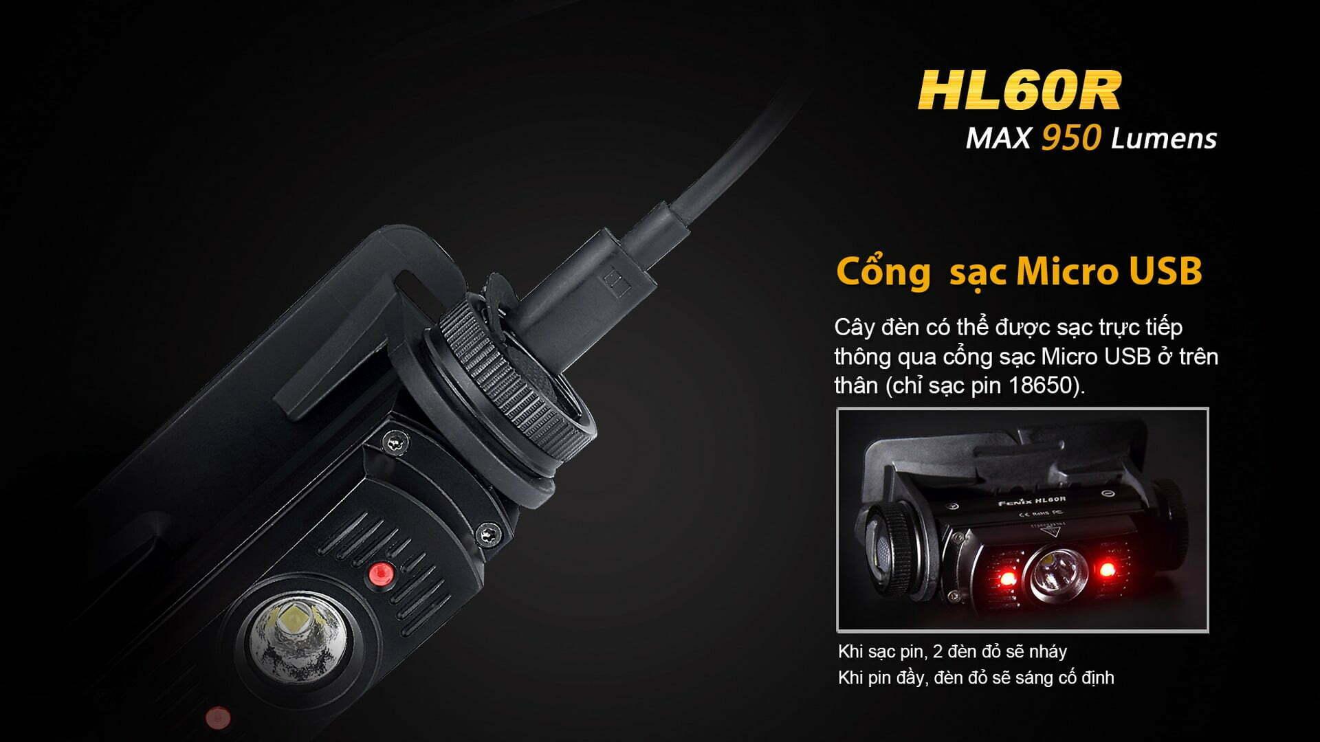 Đèn Pin Đeo Đầu Fenix HL60R