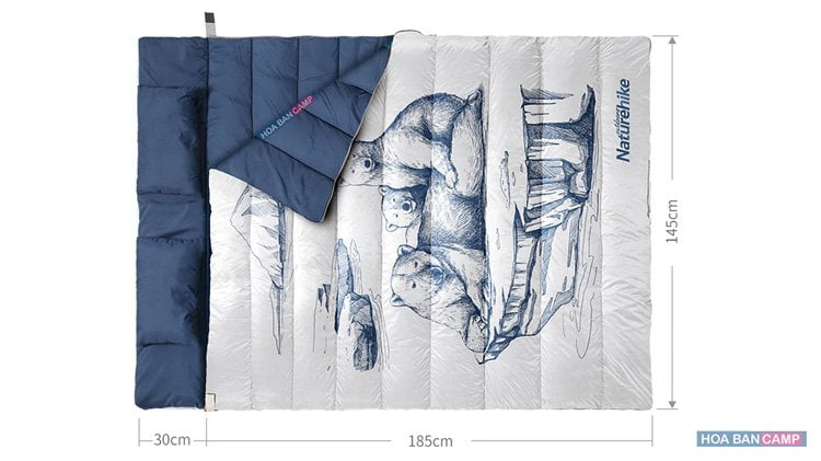 Túi Ngủ Đôi Kèm Gối 3 Con Gấu NatureHike NH19S016-D